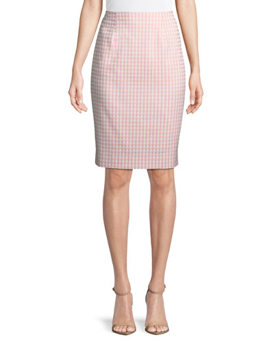 Posh Gingham Pencil Skirt