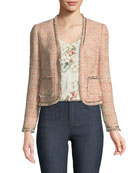 Open-Front Collarless Tweed Jacket
