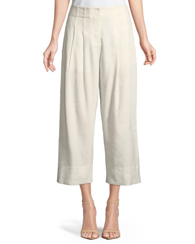 Cropped Stretch-Linen Pants