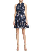 Sleeveless Floral-Print Knotted Keyhole Dress