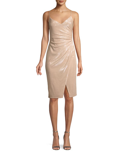 Bowery Shirred Metallic Sheath Cocktail Dress