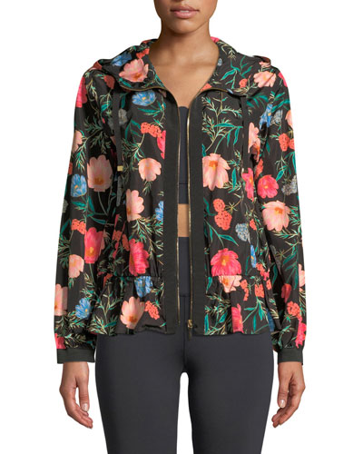 blossom zip-front flounce anorak jacket