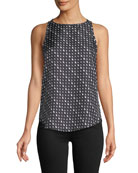 Triangle Stripe Silk Twill Racerback Tank