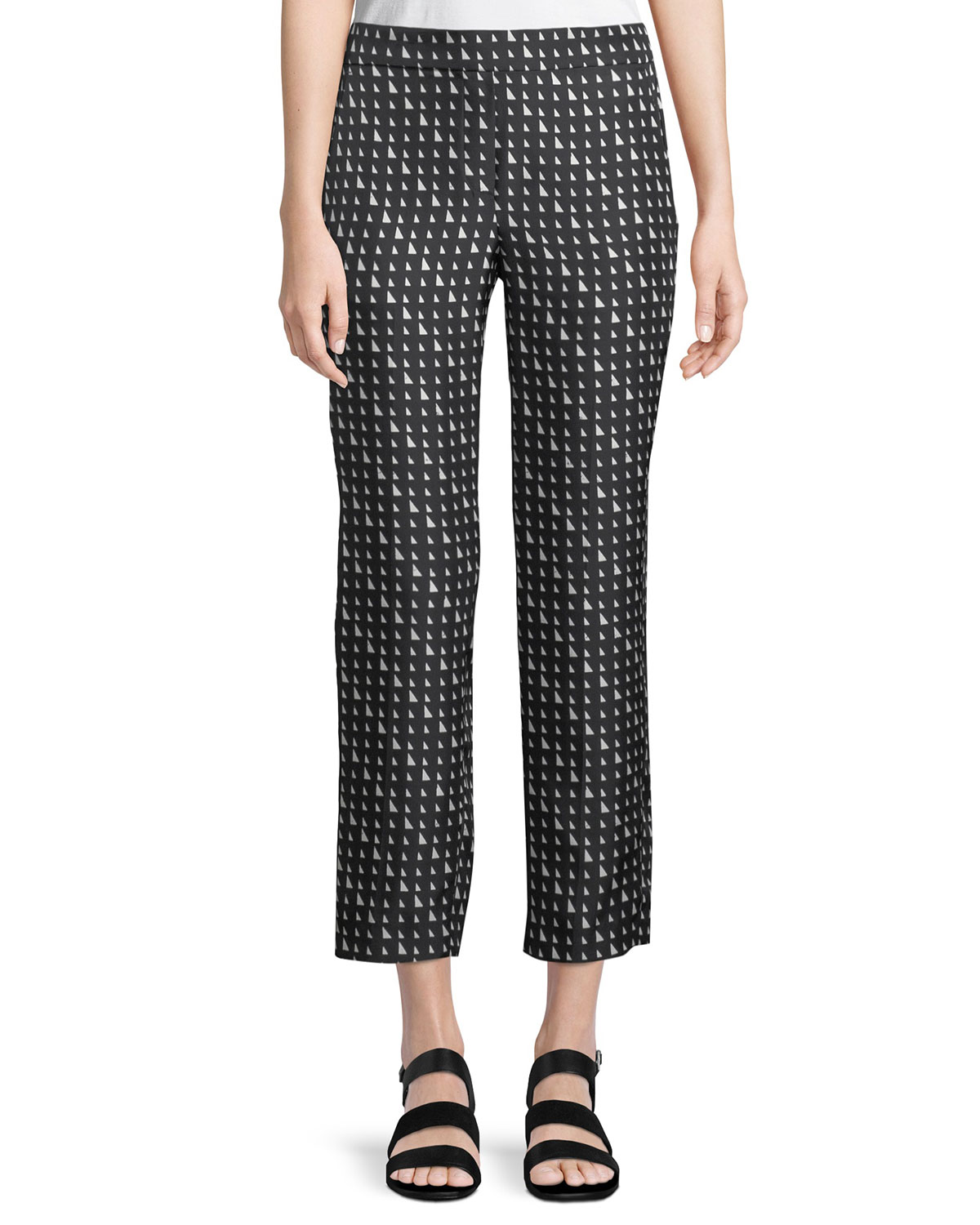 Triangle-Print Silk Pull-On Trousers