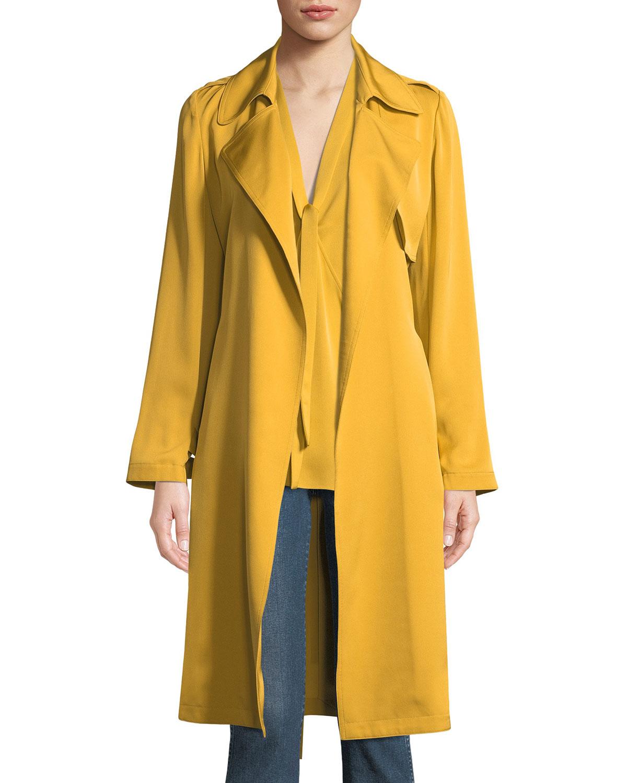 Oaklane Modern Silk Trench Coat in Yellow