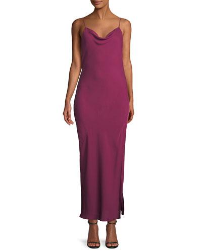 Draped Sleeveless Silk Maxi Slip Dress