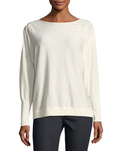Cashmere-Blend Leaf-Embroidered Sweater