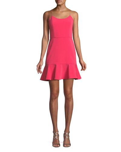 Andalasia Sleeveless Flounce-Hem Mini Dress