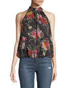 Maris Gathered Floral-Print Halter Top