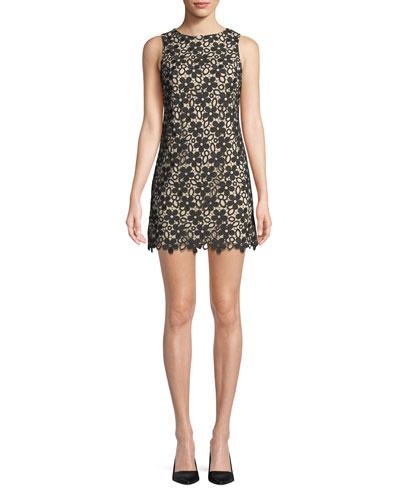 Clyde Floral Lace Shift Mini Dress