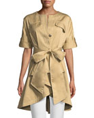 Safari Self-Tie High-Low Jacket