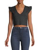 Scoobalyn Reversible Polka-Dot Print Cropped Sweater