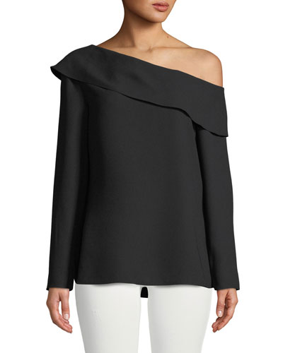 Kerni Off-Shoulder Long-Sleeve Crepe Blouse, Black