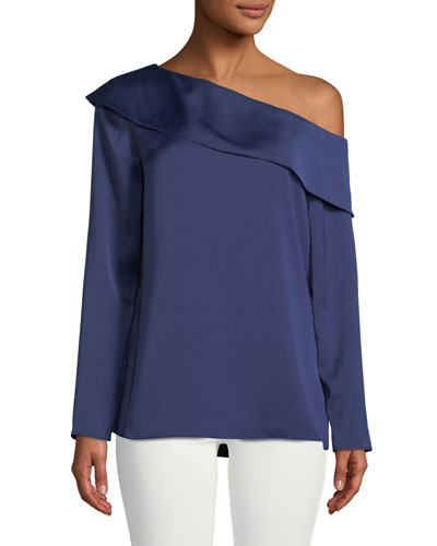 Kerni Off-Shoulder Long-Sleeve Crepe Blouse, Dark Blue