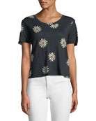 Fiore Printed Linen Scoop-Neck Tee