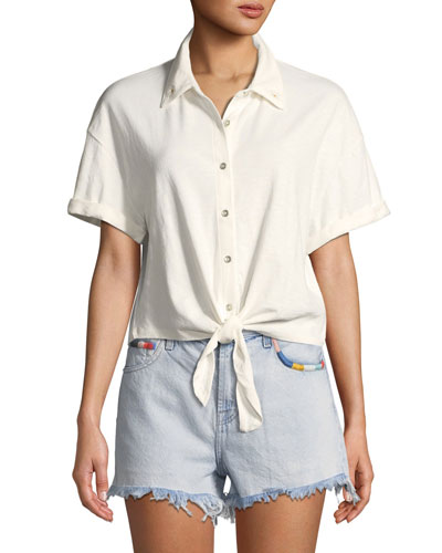Roma Knit Tie-Front Button-Down Top