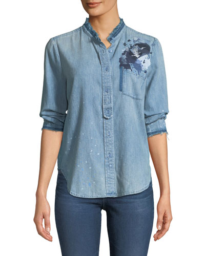 Courtney Button-Down Denim Shirt