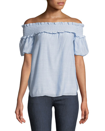 Torcasta Off-the-Shoulder Shirred Blouse