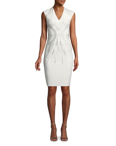 Embroidered V-Neck Sheath Dress
