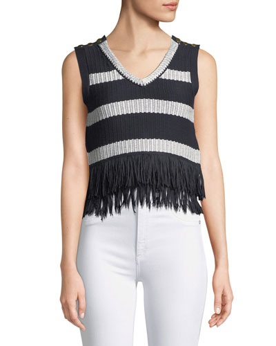 Olivina Sleeveless Fringe Sweater