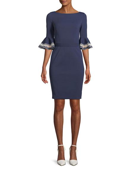 ph15 Embroidered Ruffle-Sleeve Sheath Dress
