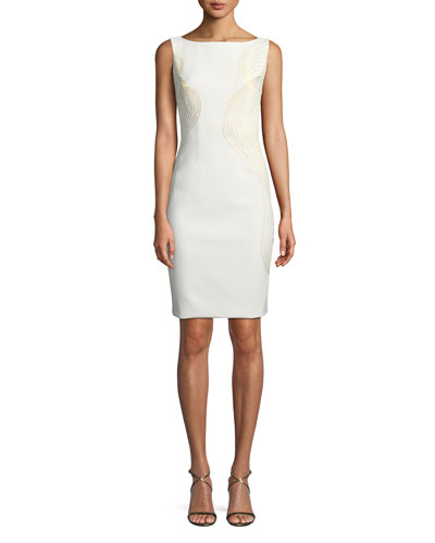 Bateau-Neck V-Beck Embroidered Sheath Cocktail Dress