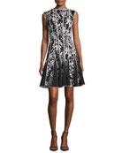 Sleeveless Embroidered Cocktail Dress, Black/White