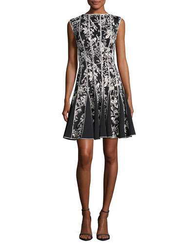 Sleeveless Embroidered Cocktail Dress, Black/White