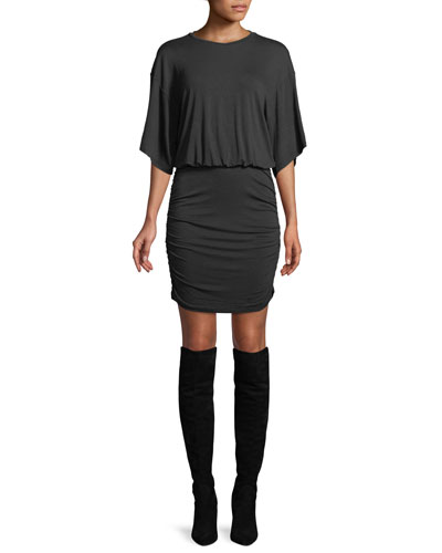 Open-Back Ruched Tee Dress