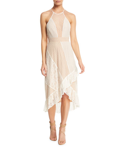 Lorimer Sheer Mesh Lace Midi Dress