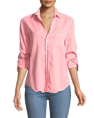 Eileen Long-Sleeve Button-Down Cotton Shirt