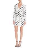 Maggie Polka-Dot Long-Sleeve Wrap Dress