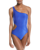 One-Shoulder Cutout One-Piece Swimsuit