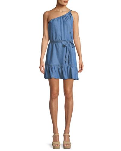 Lauretta One-Shoulder Belted Chambray Mini Dress