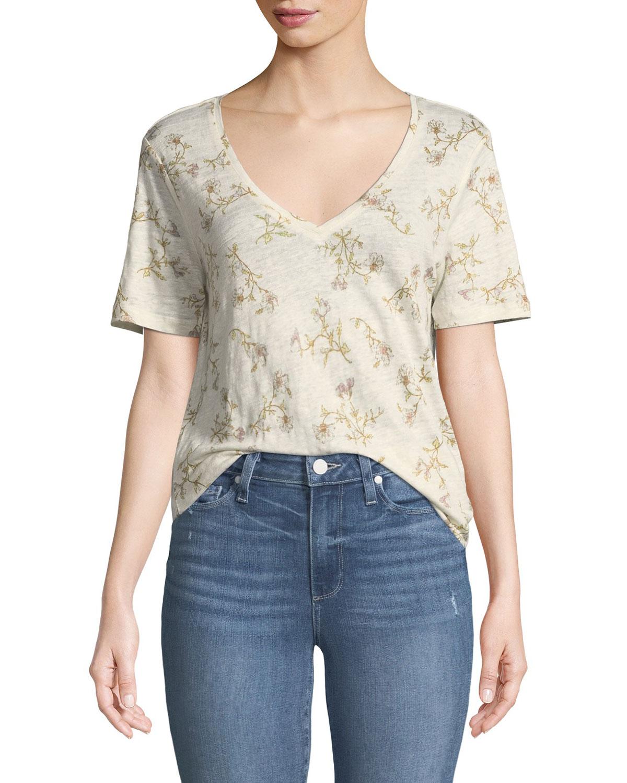 Arielle V-Neck Short-Sleeve Floral-Print Linen Tee in White/ Mauve Shadows