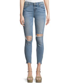 Hoxton Distressed Skinny-Leg Ankle Jeans w/ Worn-In Hem