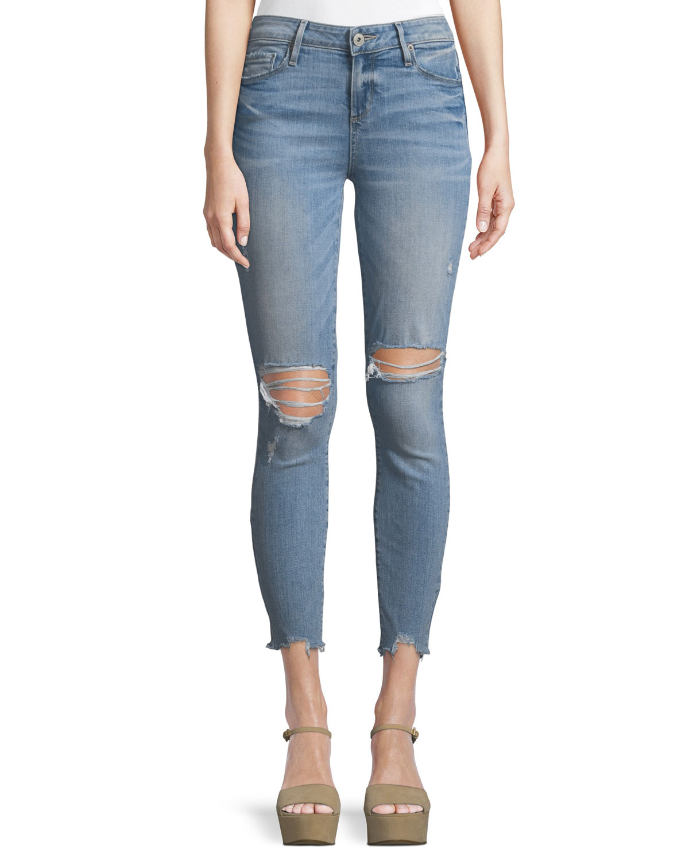 Hoxton Distressed Skinny-Leg Ankle Jeans w/ Worn-In Hem