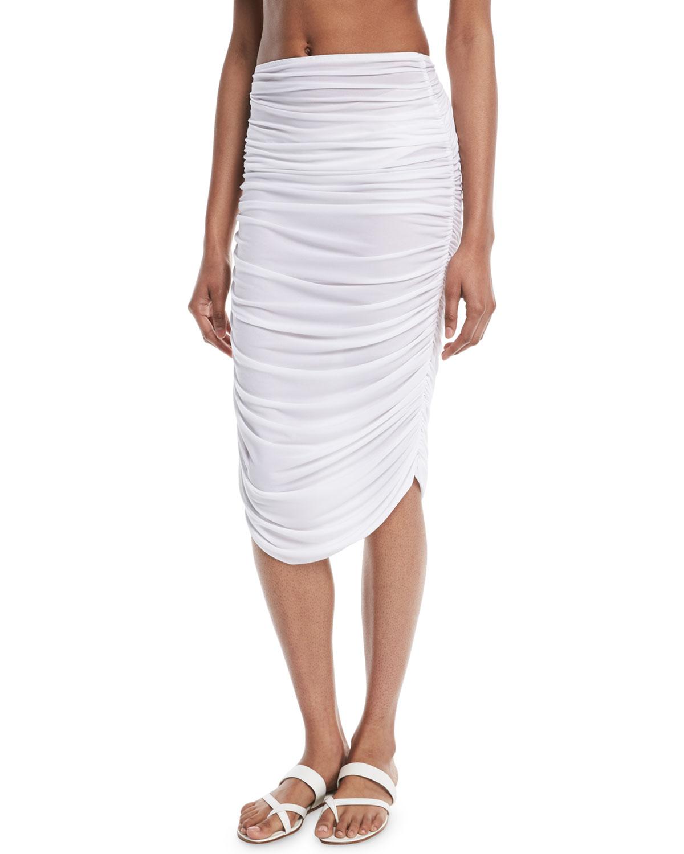 Shirred Knee-Length Coverup Skirt