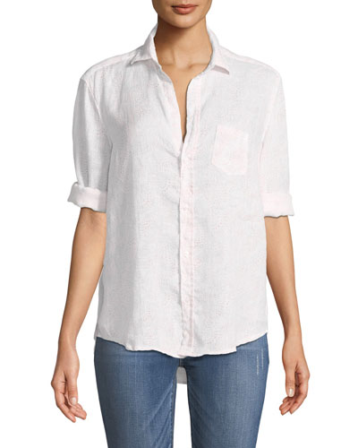 Eileen Long-Sleeve Button-Down Linen Top