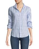 Barry Striped Long-Sleeve Linen Shirt