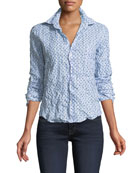 Barry Star-Print Striped Long-Sleeve Poplin Shirt