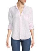 Eileen Striped Long-Sleeve Linen Shirt