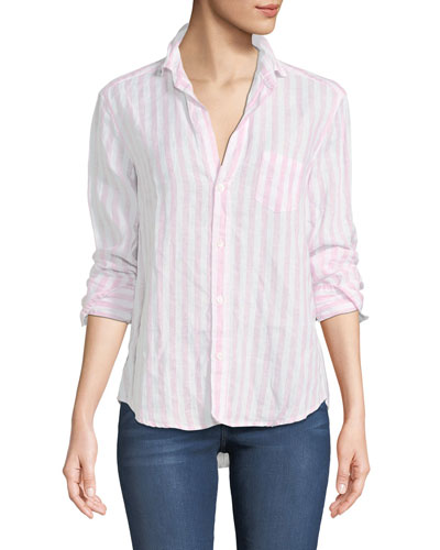 Eileen Striped Long-Sleeve Linen Shirt