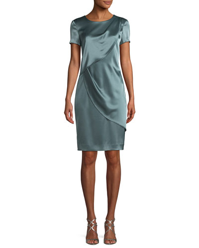 Liquid Satin Sheath Cocktail Dress
