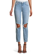 Current/Elliott The Fling Ripped-Knee Denim Jeans, Light Blue