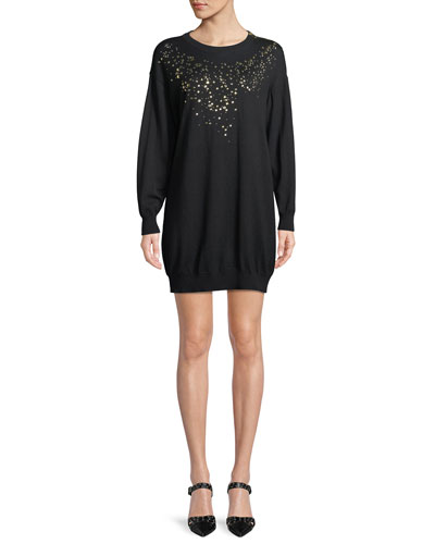 Studded-Front Sweater Dress