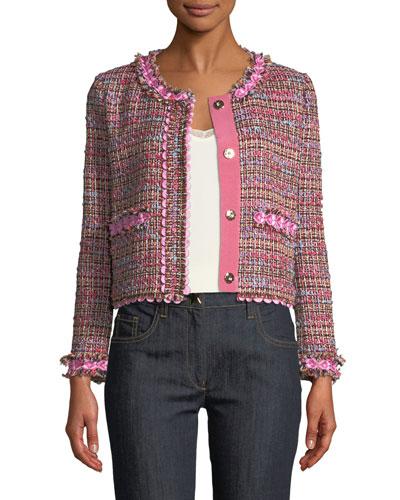 Flower-Trim Tweed Jacket
