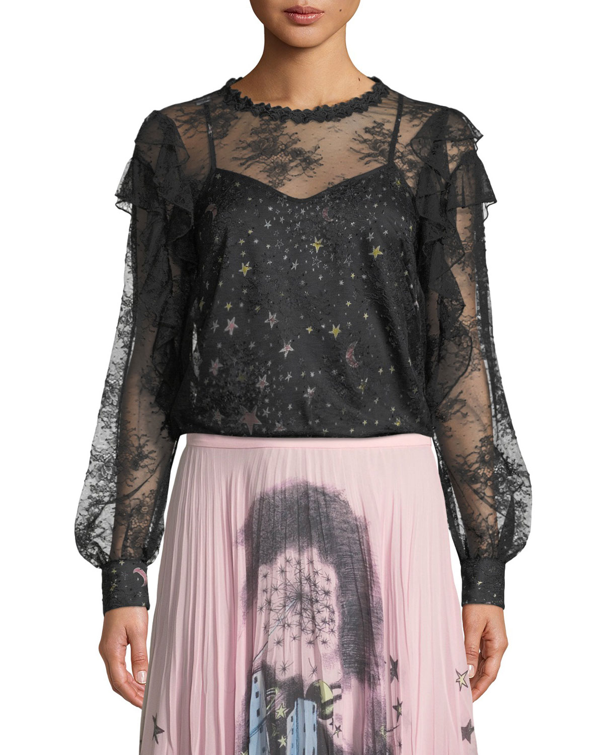 Lace Blouse With Printed Camisole, Fantasy Print Blk