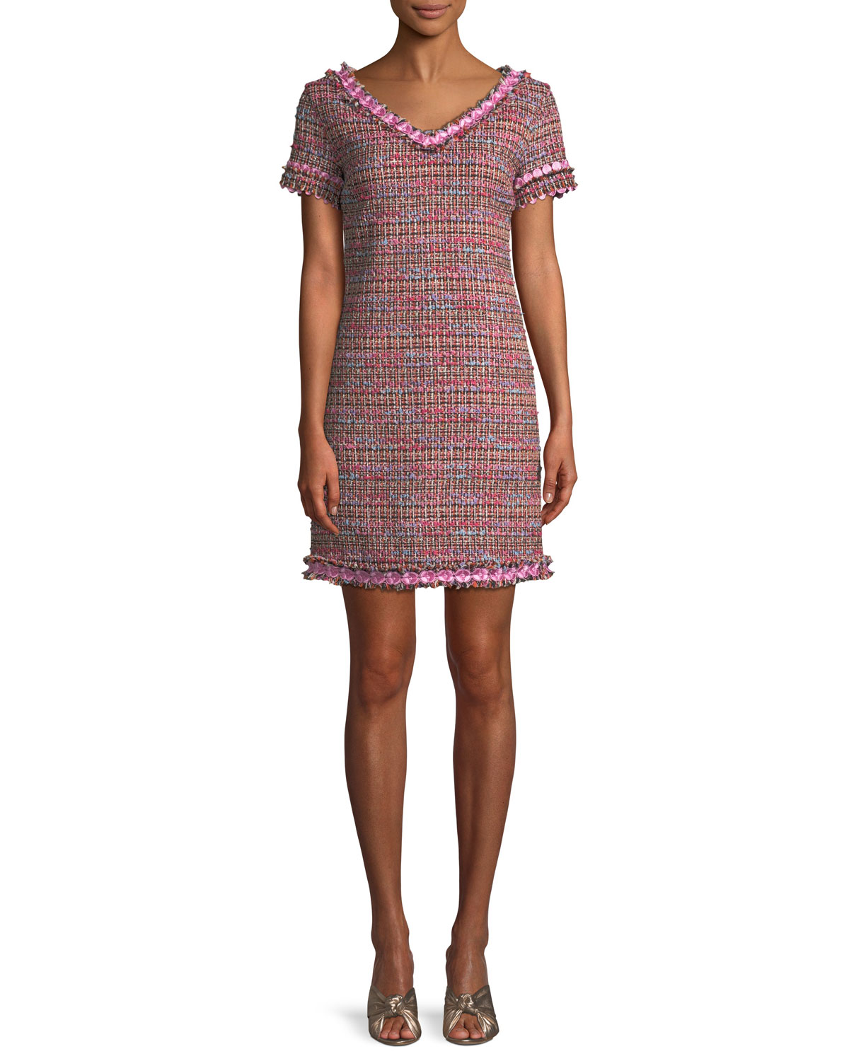 Flower-Trim Tweed V-Neck Dress, Fantasy Print Pnk