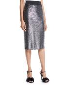 Metallic Bouclé Knit Pencil Skirt